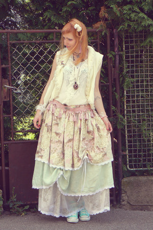 self-made skirt - white transparent New Yorker blouse - pink self-made belt