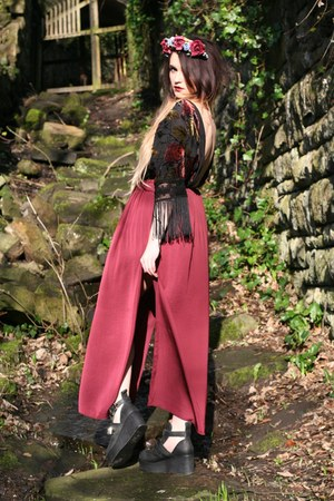 maroon Zara skirt - black platform Jeffrey Campbell boots