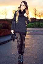 black lita Jeffrey Campbell boots - charcoal gray cashmere All Saints sweater