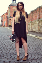 black silk asos dress - tawny dune heels - gold crystal ball swarovski necklace