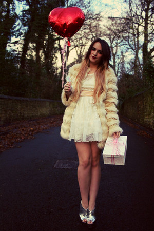 white lace Topshop dress - off white fur asos coat