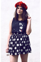 black daisy print Hearts and Bows skirt