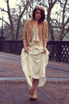 lace vintage top - River Island jacket - embroidered Zara skirt