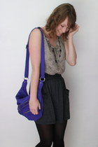 heather gray thrifted top - violet Kipling won bag - gray American Apparel skirt