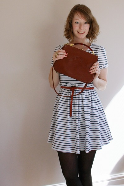 teal striped Topshop dress - brick red thrifted bag