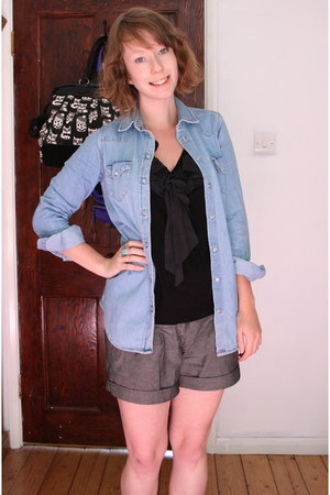 sky blue denim Topshop shirt - heather gray Topshop shorts