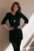 forest green Topshop dress - black H&M tights