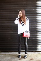 Nasty Gal sweater - Valentino bag - leather pants cotton on pants