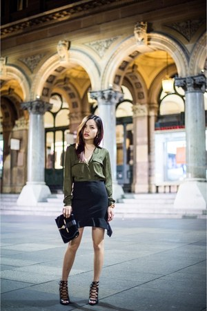 Style Societe skirt - military blouse Zara top - lace up heels Zara heels
