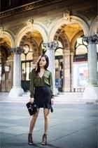 Style Societe skirt - military blouse Zara top - lace up heels Zara heels