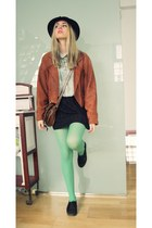 H&M tights - christian dior hat - second hand jacket - Vans sneakers