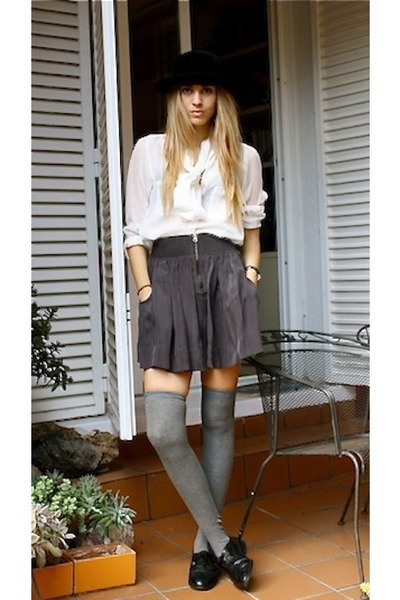 heather gray Zara skirt - black Secondhand shoes - black christian dior hat