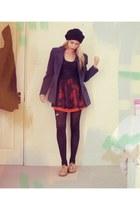 thrifted shoes - Primark dress - thrifted blazer - Zara skirt