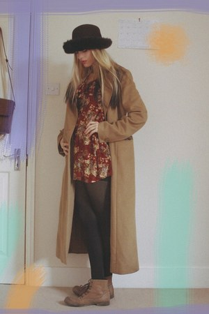 thrifted dress - Primark boots - thrifted vintage coat