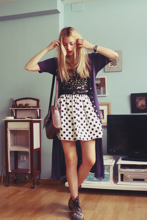 Primark skirt - Dr Martens boots - thrifted dress - Adolfo Dominguez bag