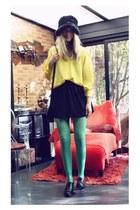vintage hat - shoes - H&M tights - Zara skirt - vintage blouse