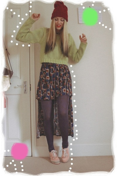 thrifted skirt - thrifted jumper