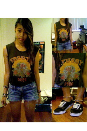 Stussy shirt - Vans shoes - jean cut offs Hollister Co shorts