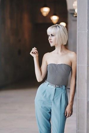 striped American Apparel bodysuit - light blue American Apparel pants