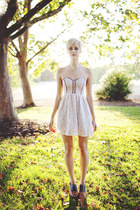 lace bustier Urban Outfitters dress - Jeffrey Campbell wedges
