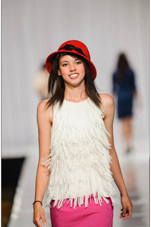 white frineg top Ann Taylor Loft shirt - red Claires hat