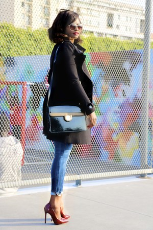 black Mango coat - navy isko pop jeans - black vintage bag - bronze H&M glasses