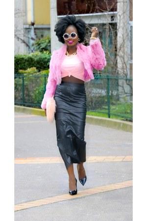 bubble gum vintage coat - light pink new look bag - white Sheinside glasses