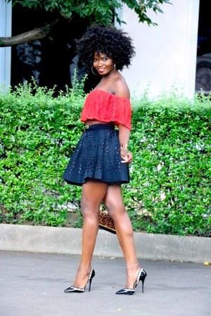dark gray skirt - dark gray Primark heels - red Forever 21 top