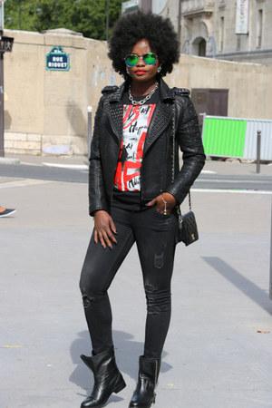 Zara t-shirt - Diesel boots - black SANDRO jacket - black Chanel bag
