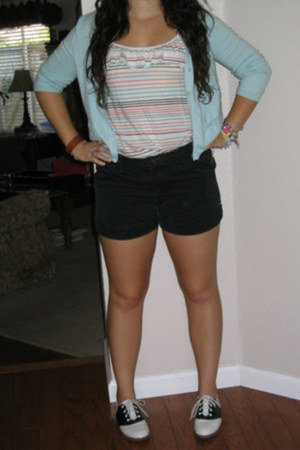 black unknown shoes - black Old Navy shorts - light blue knit 3-4 sleeve unknown
