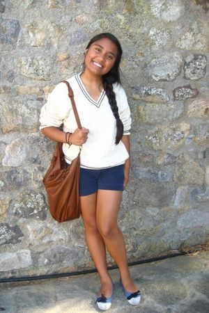 white sweater - brown Zara purse - blue monoprix shoes