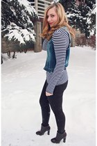 navy Silver Jeans vest - crimson JustFab boots - crimson coated JustFab pants