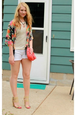 black kimono 10DollarMall cardigan - carrot orange bow TJ Maxx bag