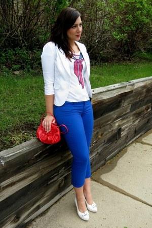 white Charlotte Russe blazer - blue calvin klein jeans - red Primark shirt
