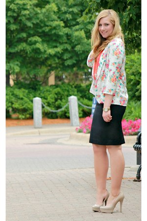 pink floral print Lulus blazer - carrot orange 10DollarMall blouse
