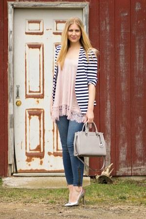 navy striped Sheinsidecom blazer - blue zipper JustFab jeans
