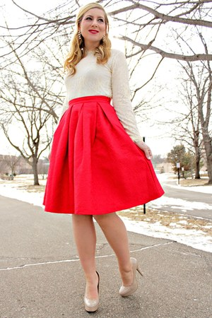 red red midi skirt OASAP skirt - beige as a top OASAP dress