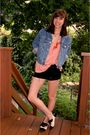 Pink-f21-top-black-diy-ripped-shorts-vintage-jacket-white-aldo-shoes
