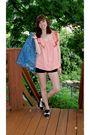 Pink-f21-top-black-diy-ripped-shorts-vintage-jacket-white-aldo-shoes