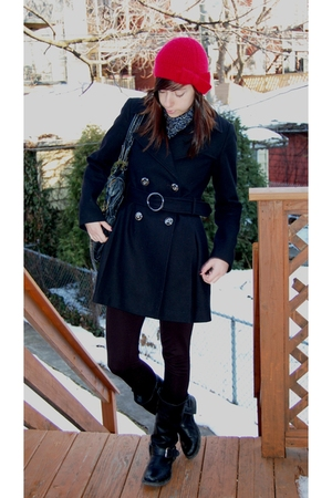 black Via Spiga coat - black Steve Madden boots - red Zara Kids hat - animal pri