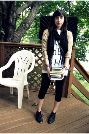 DIY handpainted shirt - Gap leggings - cardigan - scarf - shoes - Secondhand pur
