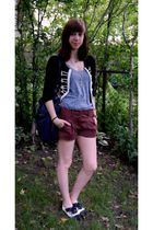 brown BCBGMAXAZRIA shorts - black f21 cardigan - gray American Apparel top - blu