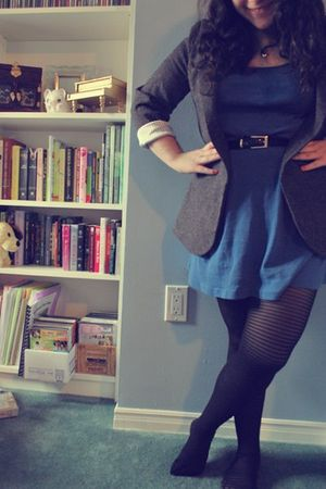 blue American Apparel dress - black H&M tights - gray Urban Outfitters blazer -