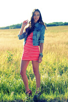 sky blue denim OASAP jacket - salmon Forever 21 dress