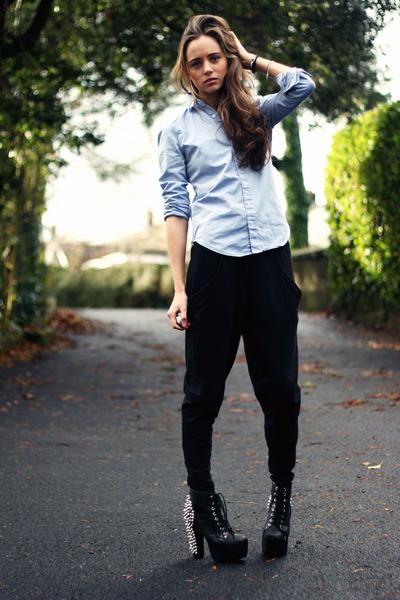 black Jeffrey Campbell boots - white charm Koko & Beau bracelet
