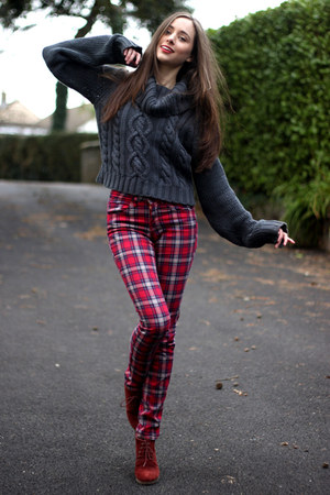 dark gray asos jumper - burnt orange new look boots - ruby red tartan H&M jeans