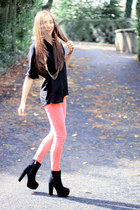 black OASAP boots - salmon Urban Planet jeans - black Club Couture shirt