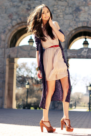 beige chiffon Love dress - deep purple long Forever 21 cardigan