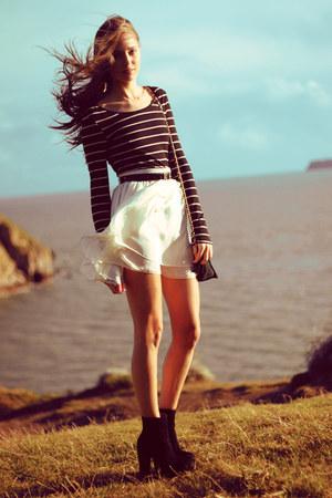 cream American Apparel skirt - black OASAP boots - black H&M top