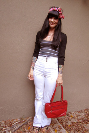 purple thrifted vintage scarf - white Pierce jeans - red vintage purse